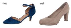 De linker schoen lijkt een slanke schoen maar als je geen slanke voeten, enkels en kuiten hebt laten ze je juist dikker lijken.