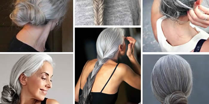 grijs haar opsteken vlechten
