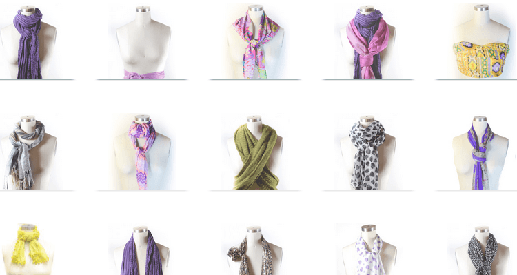 voorbeelden sjalen knopen