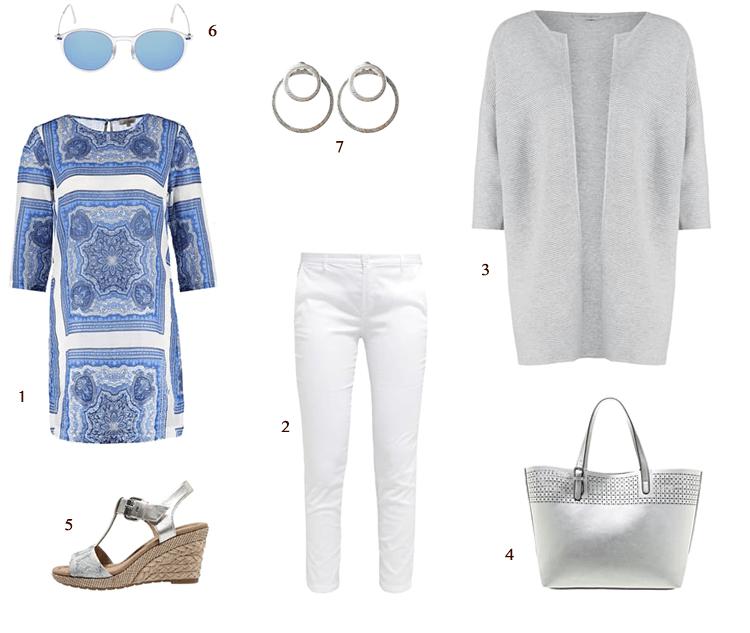 blauwwite tuniek gecombineerd met wit, grijs en zilver