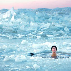 zwemmen in ijs