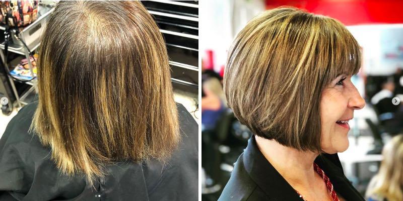 voor en na foto van bob kapsel voor oudere dames