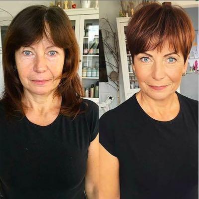 voor en na foto van lang naar kort haar